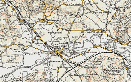 Old map of Caersws in 1902-1903