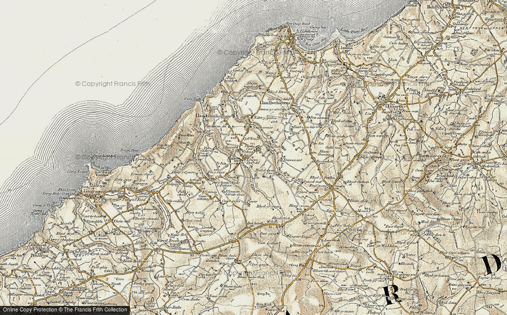 Old Map of Historic Map covering Afon Ffynnon-Ddewi in 1901-1903