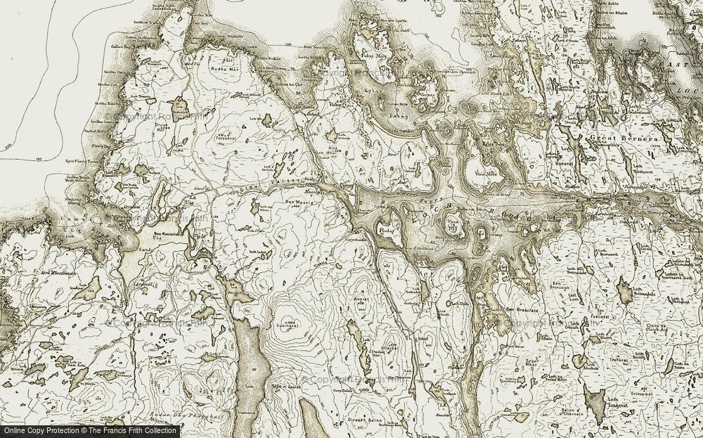 Old Map of Historic Map covering Abhainn Uasaig in 1911