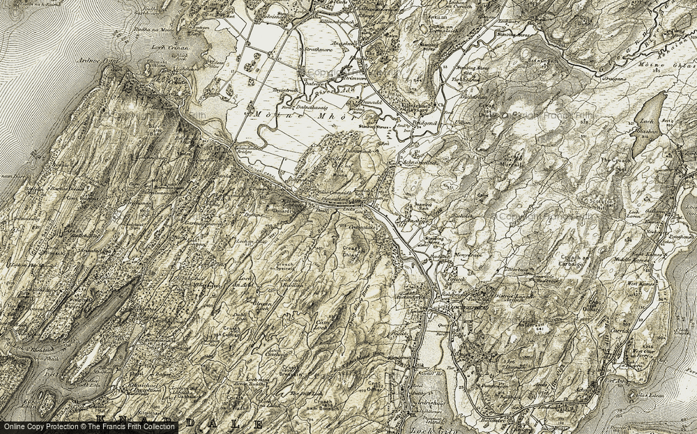 Old Map of Historic Map covering Achnabreck in 1906-1907