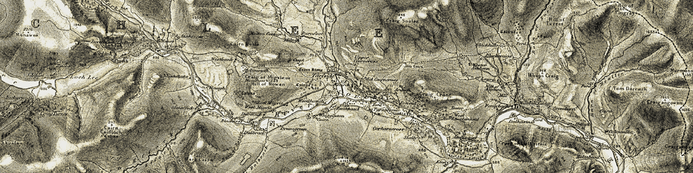 Old map of White Cairn in 1908-1909