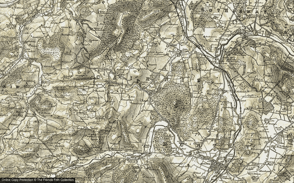 Old Map of Historic Map covering Wood of Milleath in 1908-1910