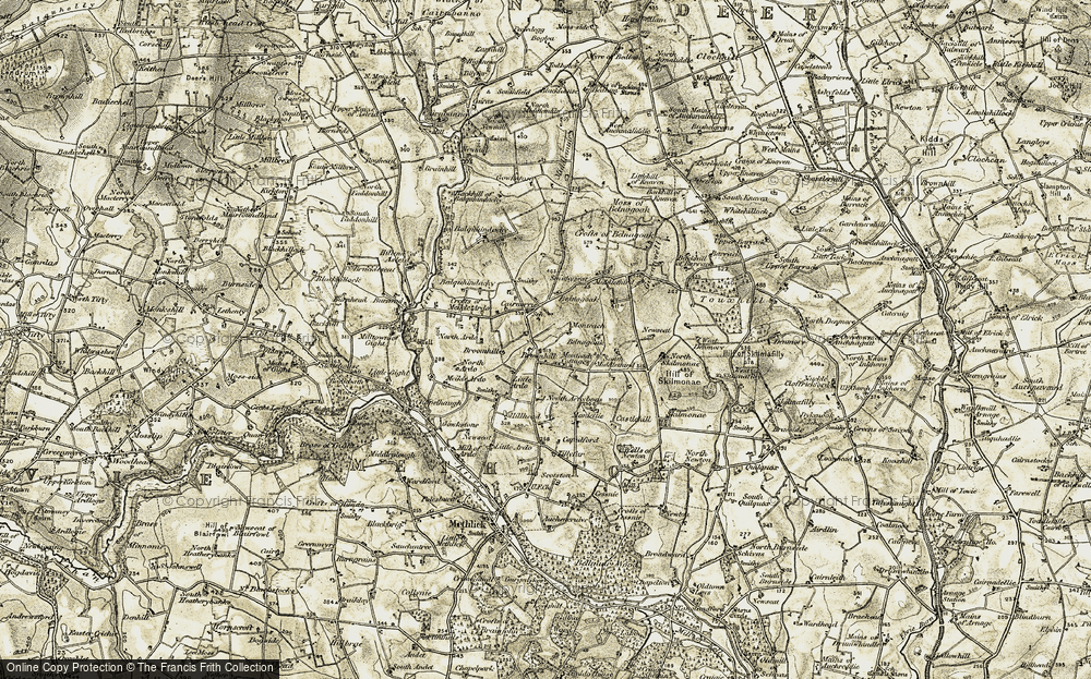 Old Map of Historic Map covering Asleid Ho in 1909-1910