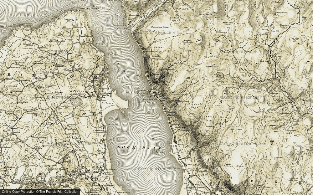 Old Map of Historic Map covering Bankhead in 1905