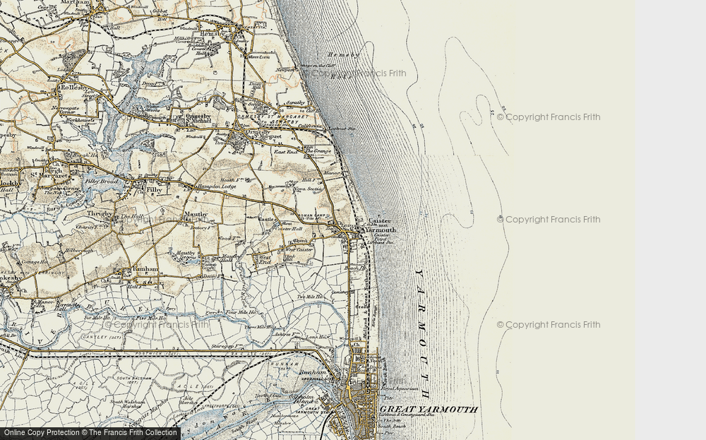 Old Map of Caister-on-Sea, 1901-1902 in 1901-1902
