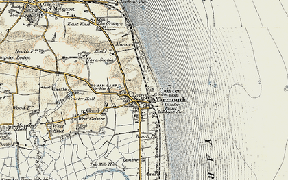 Old map of Caister-on-Sea in 1901-1902