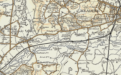 Old map of Calcot Row in 1897-1900