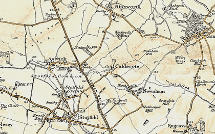 Old map of Caldecote in 1898-1901