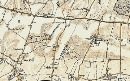 Old map of Caldecote in 1899-1901