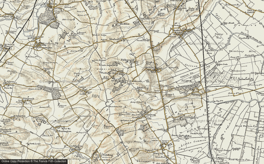 Old Map of Caldecote, 1901 in 1901
