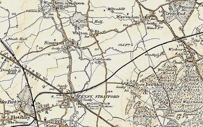 Old map of Caldecotte in 1898-1901