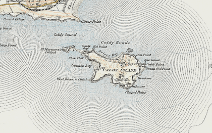 Old map of Caldey Island in 1901