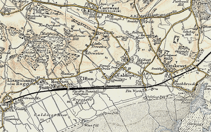 Old map of Caldicot in 1899-1900