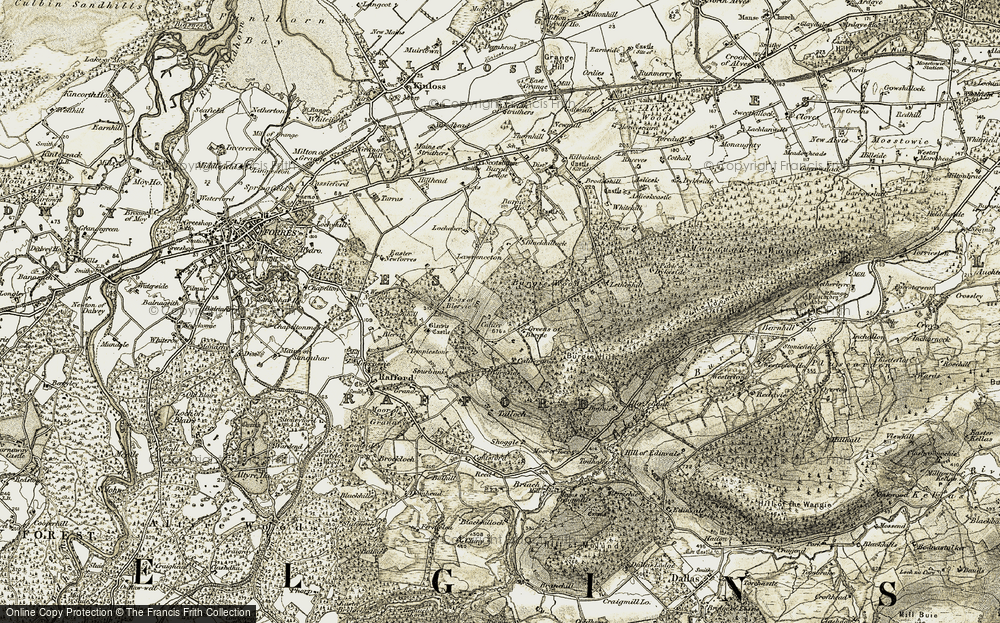 Old Map of Historic Map covering Lethenhill in 1910-1911