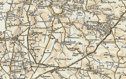 Old map of Callestick in 1900