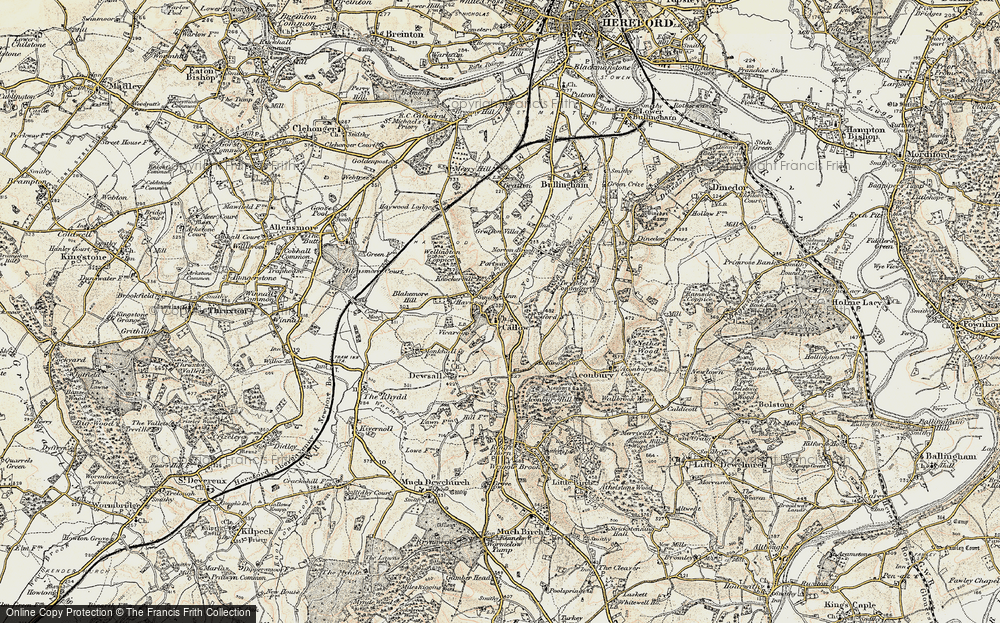 Old Map of Historic Map covering Aconbury in 1900-1901