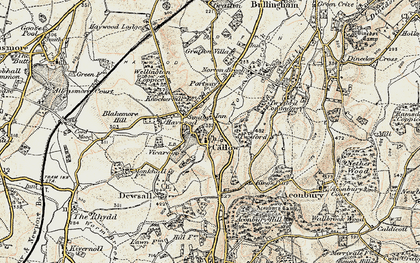 Old map of Aconbury in 1900-1901