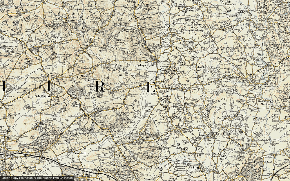 Old Map of Historic Map covering Leighton Court in 1899-1901
