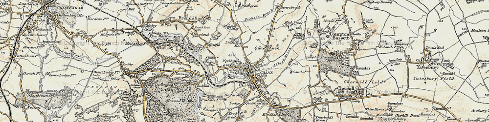 Old map of Calne in 1899