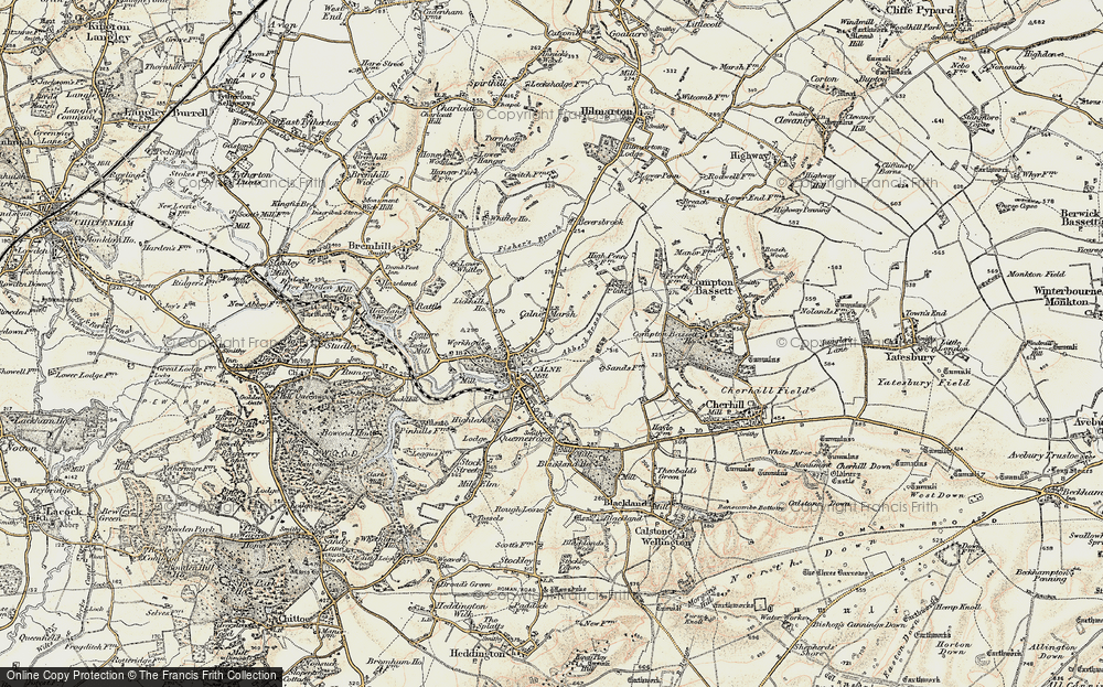 Old Map of Historic Map covering Abberd Brook in 1899