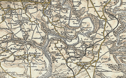Old map of Calstock in 1899-1900