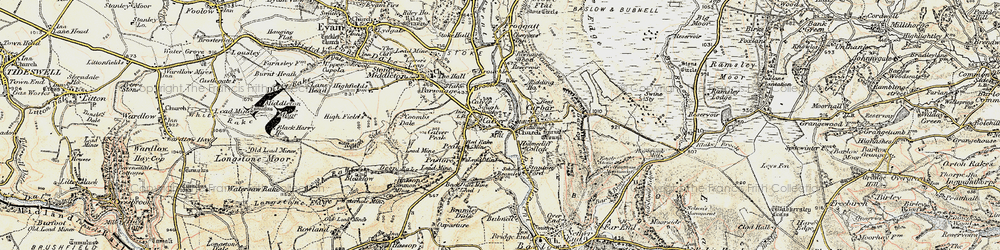 Old map of Calver in 1902-1903