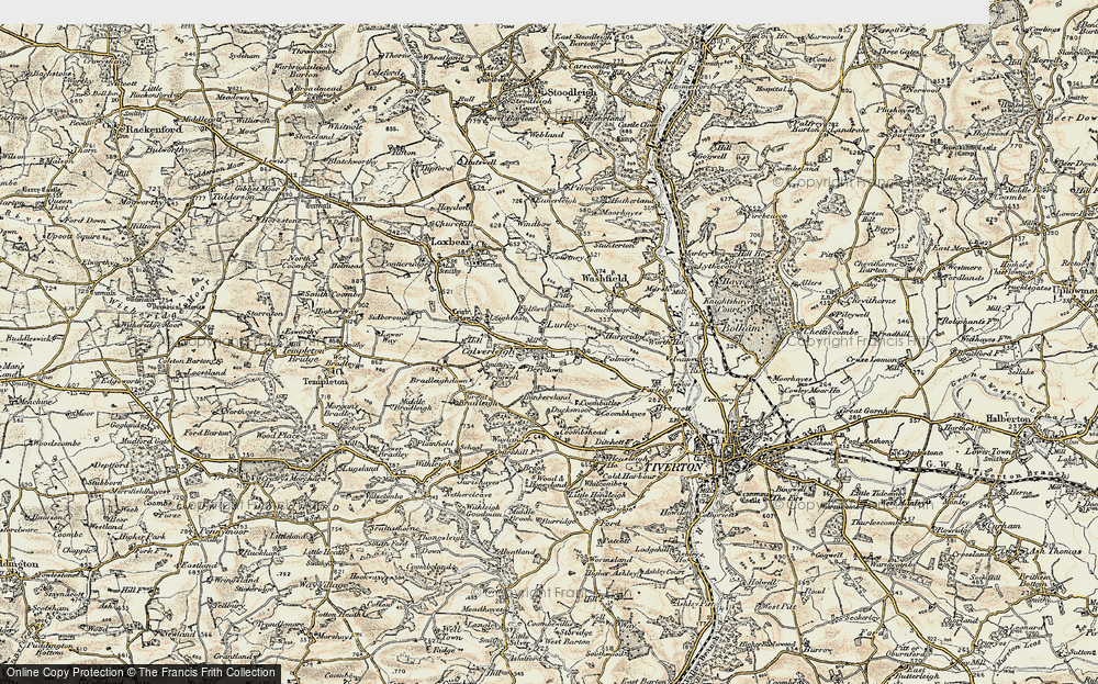 Old Map of Historic Map covering Leigh Barton in 1898-1900