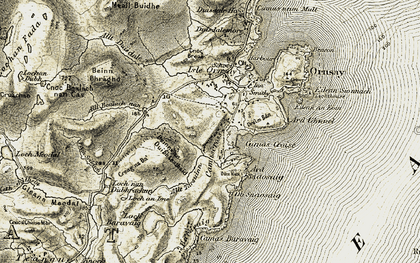 Old map of Allt Bealach nan Cas in 1908