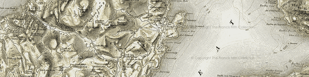 Old map of Àird Ghunail in 1908
