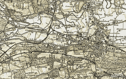 Old map of Camelon in 1904-1907