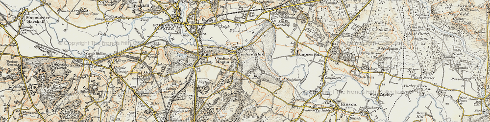 Old map of Canford Magna in 1897-1909