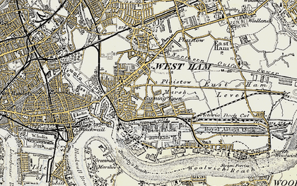 Old map of Canning Town in 1897-1902