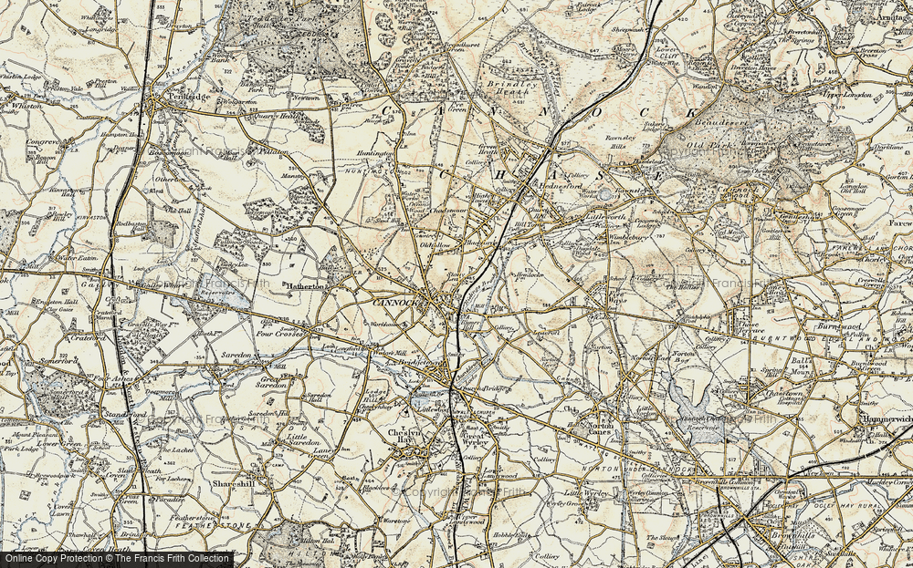 Old Map of Cannock, 1902 in 1902