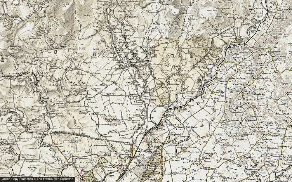 Old Map of Historic Map covering Tinnishall in 1901-1904