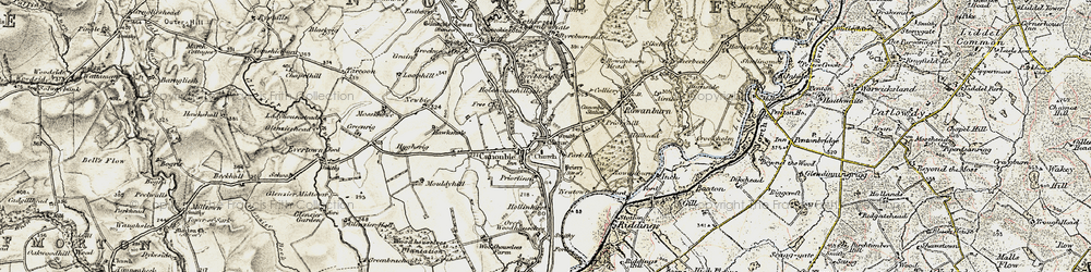 Old map of Canonbie in 1901-1904