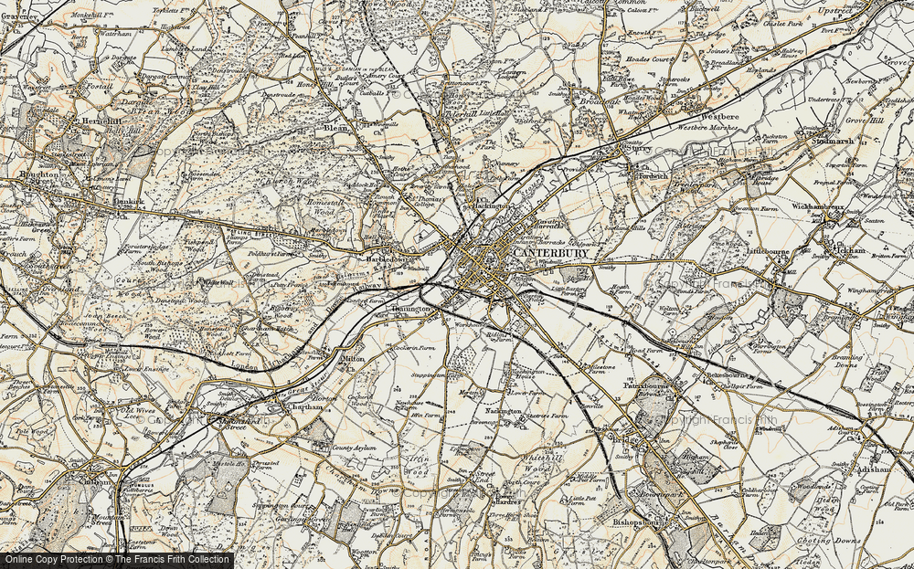 Old Map of Canterbury, 1898-1899 in 1898-1899