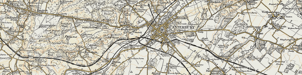 Old map of Canterbury in 1898-1899