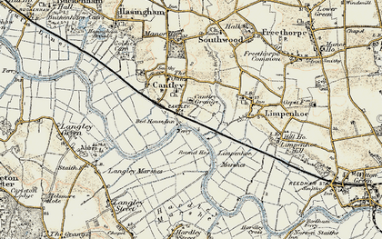Old map of Cantley in 1901-1902