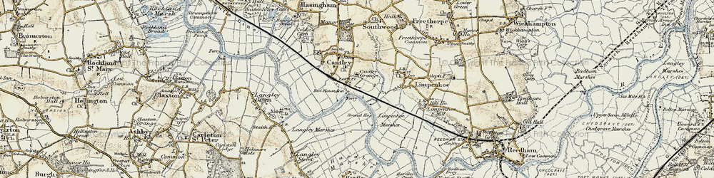 Old map of Langley Marshes in 1901-1902