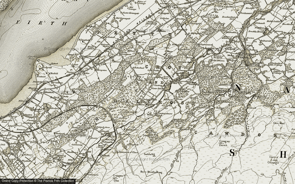 Old Map of Historic Map covering Balfreish in 1911-1912