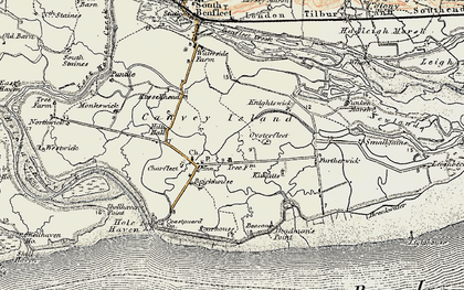 Old map of Canvey Island in 1897-1898
