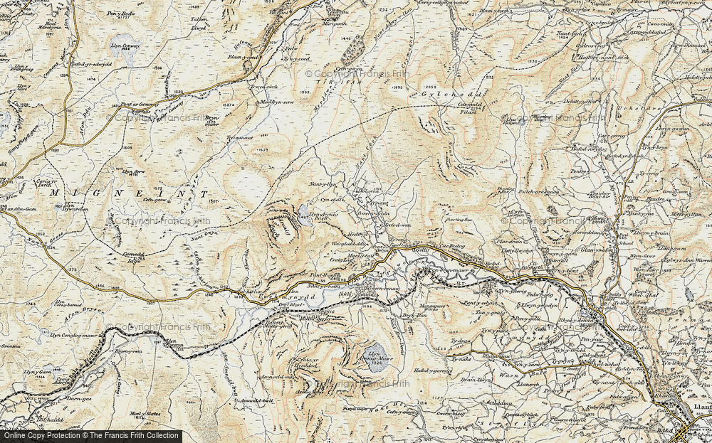 Old Map of Historic Map covering Afon Gelyn in 1902-1903