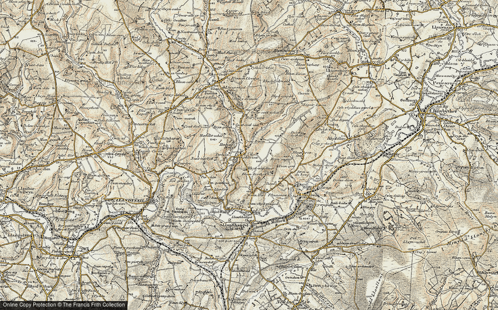 Old Map of Historic Map covering Afon Clettwr in 1901
