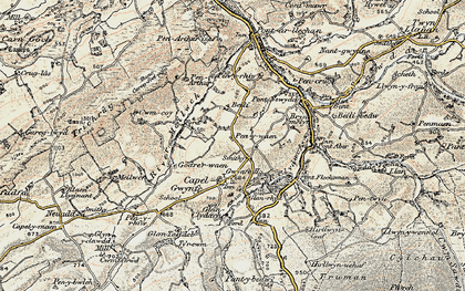 Old map of Capel Gwynfe in 1900-1901