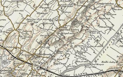 Old map of Ysgubor Fawr in 1903-1910