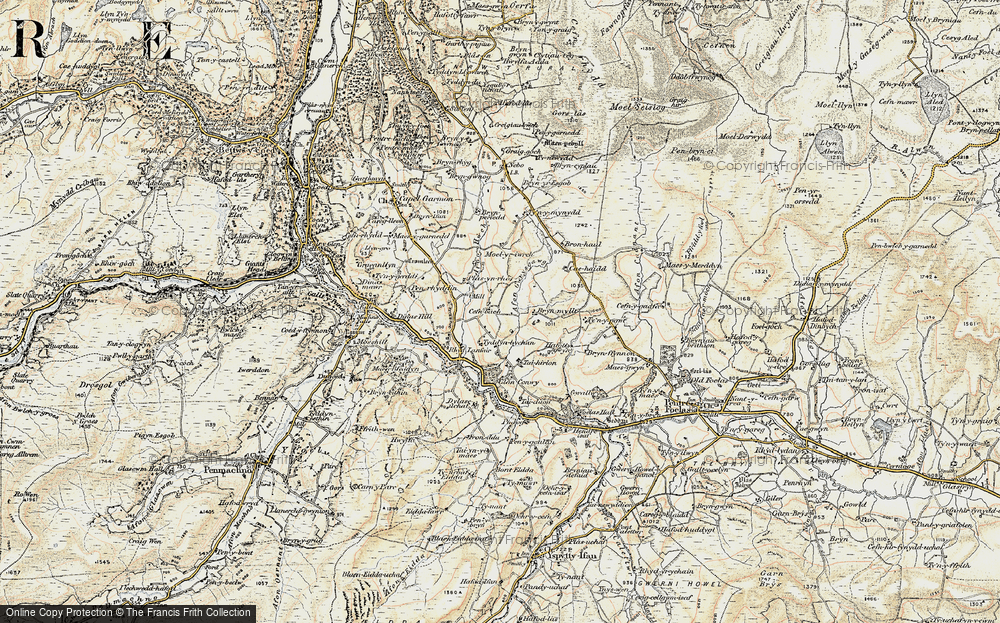Old Map of Historic Map covering Afon Gwrysgog in 1902-1903