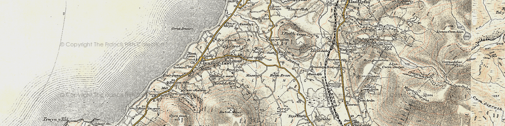 Old map of Afon Desach in 1903
