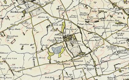Old map of West Shaftoe in 1901-1903