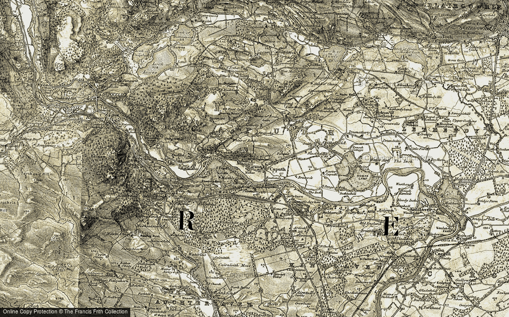 Old Map of Historic Map covering Whins of Fordie in 1907-1908