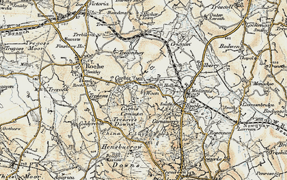 Old map of Carbis in 1900